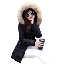 New Coats & Jackets 2017 Female Parka Hooded Winter Jacket Women Real Raccoon Fur Collar Winter Coat Women Zipper Women's Jacket