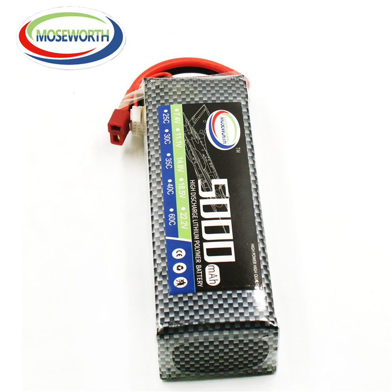 MOSEWORTH 4s RC Drone Lipo Battery 14.8V 5000mAh 35C For RC Quadcopter Airplane<br>
