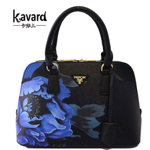2016 New Shell Flower PU Lleather Women Handbags Shoulder Bag For Female Designer Printing Ladies Hand bag Famous Brand Tote(China)