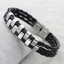 Stainless Steel Jewelry Bracelet,Personality, with PU, oril color, 4x10x6mm, Sold Per Approx 8.5 Inch Strand(China)