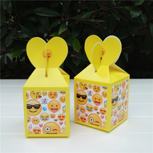 6pcs/lot Emoji Favor Box Candy Box Gift Box Cupcake Box Kids Birthday Party Supplies Decoration Event Party Supplies