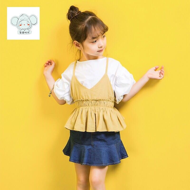 Summer girl dress girl sleeve baby dress girl childrens clothing childrens clothing girl 3 piece suit Cute baby dress Fashion<br>