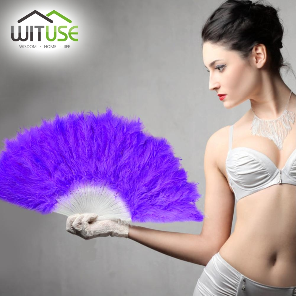 WITUSE 11 Colors Beautiful feather fan Square Dance goose feather folding fan Wedding Hand Fancy Dress Costume(China (Mainland))