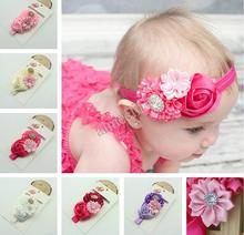 Infant Baby Girl Rose Lace Flower Hair Headband Bow Toddler Elastic Hairband Headwear children Hair Accessories