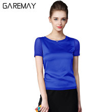 GAREMAY Shirts Women Summer Imitation Silk Blouses Short Sleeve Tops Female Chemise Femme Elegant Clothing For Women Clothes 089