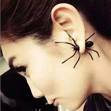 2pcs New Hot Fashion European Halloween Black Spider Charm Ear Stud Earrings Women 3D Frosted Spider Jewelry Gift Drop Ship(China)
