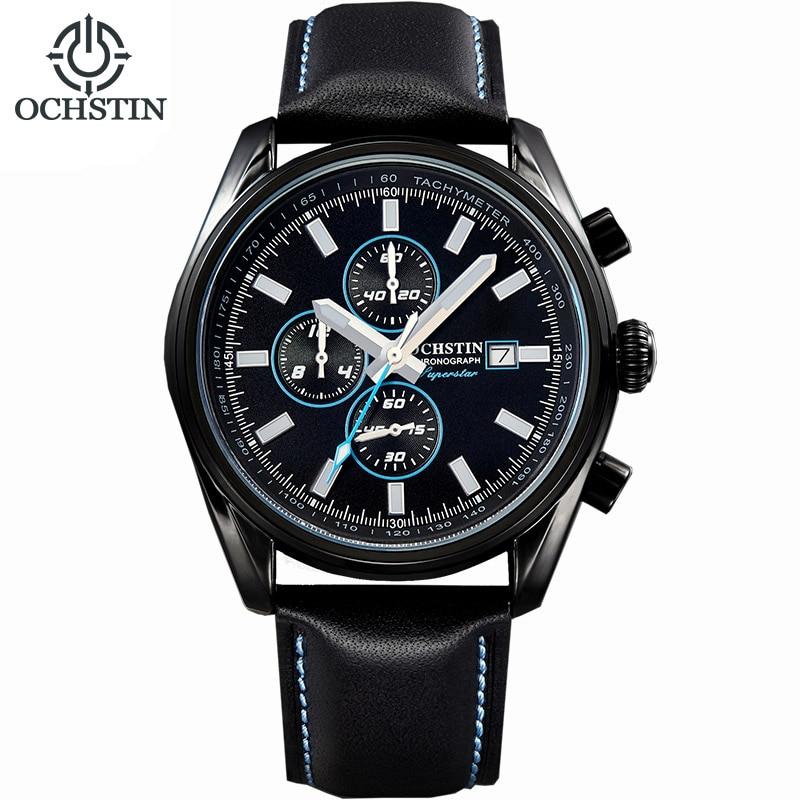 OCHSTIN Brand Fashion Sport Quartz Watch Men Chronograph Clock Business Watch Leather Strap Calendar Luminous Wristwatch Relogio<br>