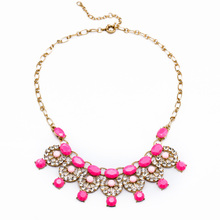 Fashion Crystal Imitation Gemstone Necklace Costume Match 3 Colors Women Statement Bib Necklace Boho Jewelry