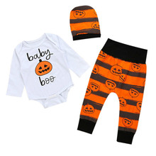 Pudcoco Adorable Baby Boy Girl pumpkin Clothes 3pcs Newborn Baby Long Sleeve Romper Jumpsuit Cute Pants Hat Outfits Clothes Sets