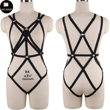Buy Pastel Goth Body Harness Bondage Set Rave Sexy Lingerie Pole Dance Erotic Cage Bra Fetish Bustier Stocking Harness Belt