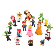 18pcs/lot Super Mario Character Bros  Action Figure Set Doll Display Toy for Kids Children Baby Toys
