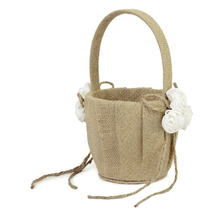 Delicate Rose Decorated Burlap jute Flower Basket for Wedding Ceremony Party for candy small gifts and confetti cards