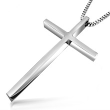 ER Male Biker Titanium Christian Cross Pendant Box Chain Necklace Collier Homme Cool Luxury Men Jewelry Gift TN008