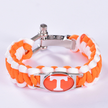 Tennessee Volunteers Custom Paracord Bracelet NCAA College Football Charm Bracelet Survival Bracelet,Drop Shipping! 6Pcs/lot!