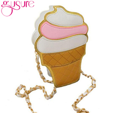 Gusure Women Cupcake Ice Cream Shape Crossbody Bags Cartoon Fashion Chain PU Leather Female Small Mini Shoulder Bag Candy Colors(China)