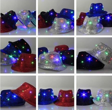 2017 New Hot Sale Black White Blue Red Hat Party Supplies Luminous Flashing Cap Fedora Fashion Hip Hop Dancing Bar Decoration