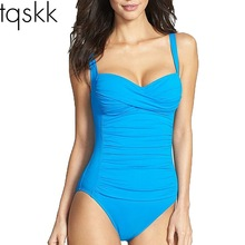 TQSKK M~4XL Plus Size Swimwear One Piece Swimsuit Women 2017 Summer Beach Wear Halter Push Up Bathing Suits Retro Monokini Set
