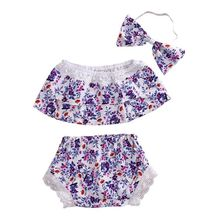 Spring Autumn Brand Unisex Kids Baby Carters Girls Clothing Set 2 PCS Set Purple Floral Edge Cotton Printed Tops + Pants