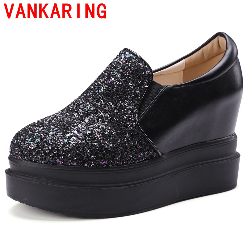 VANKARING shoes 2017 sweet style black white round toe elastic band platform high heels comfortable fashion simple women shoes <br><br>Aliexpress