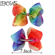 "1Pc 7"" Fashion Large Ombre Signature Rainbow Grosgrain Hair Bows Clips With Rhintesones Boutique Big Bows For Girl Party Wear"