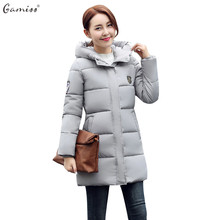 Gamiss Winter Women Fashion Down Outerwear Parka Warm Coats Long Sleeve Hooded Jackets Slim Casual Autumn Parka Coat feminino