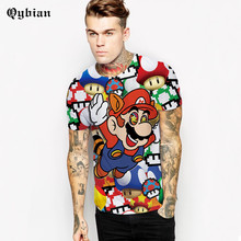 Qybian Spring And Summer 3D Mario Cartoon Printing T-Shirt Men's Sexy T Shirt Novelty Casual Men And Women Tops