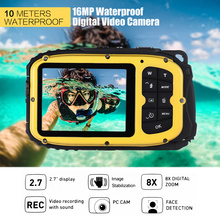 "16MP 2.7"" LCD Waterproof Digital Video Camera Mini Camcorder DV Underwater Max 10M Diving 8X Digital Zooming Face Detection(China)"