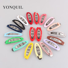 100Pcs/lot Cute Children Hair Clips Great Candy Color Cloth Headwear Barrette Metal Clip Girls Hairpin nice DIY Hair Accessories(China)