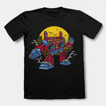 Print T-Shirts Men Boombox Robot Cartoon Character Art Work Parody O-Neck Fashion Casual High Quality Print T Shirt