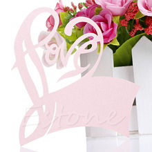 50pcs Love Heart Table Mark Wine Glass Name Place Card Wedding Party Decoration A18685