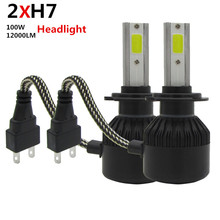 Super bright Led Car Headlights kit H7 COB LED Auto Front Bulb Automobile Headlamps 100W 6000K White Car Auto Head Lamp Lighting