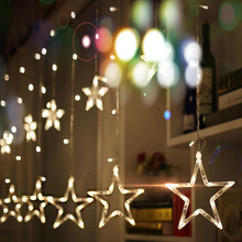 220V EU Plug LED Star Light Christmas lights Indoor/Outdoor Decorative Love Curtains Lamp For Holiday Wedding Party lighting(China)