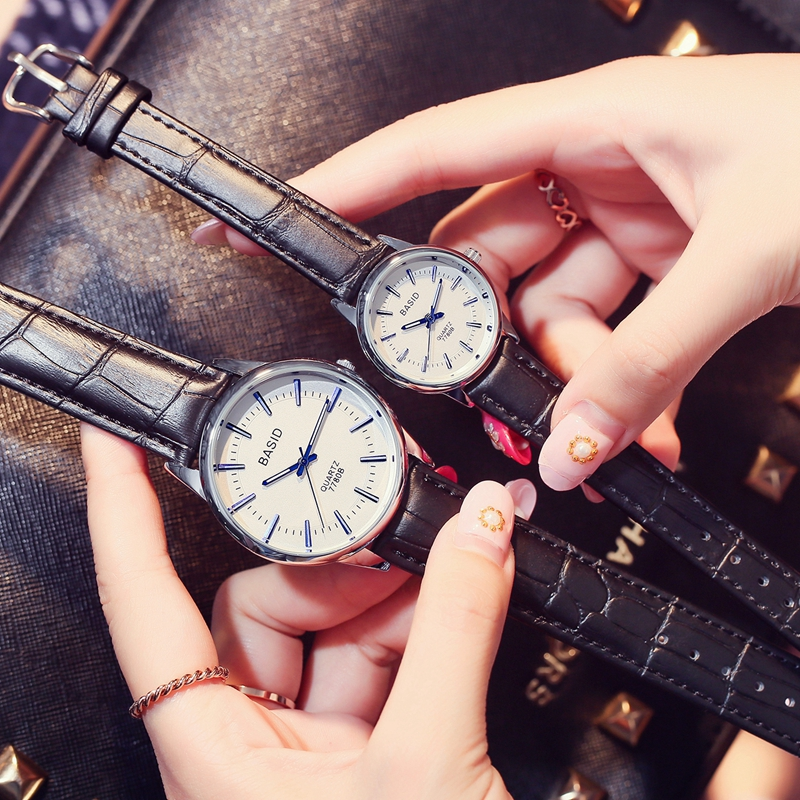BASID Lovers Wristwatch Women Man Couple Quartz Watches Casual Fashion Leather Waterproof Watch reloj hombre Mens wrist Watch<br><br>Aliexpress