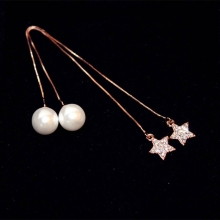 High Quality Clear Crystal Star Pendant Simulated Pearl Stud Earrings Gold Color Women Long Ear Chain Line