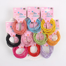 2017 new 10pcs/lot card packaging 10 color rubber band Elastic Hair Bands Hair Accessories KIDS Gum Hair Styling HJ862(China)