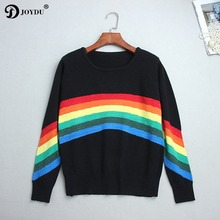 BIG SALE! Knit Sweater Women 2017 Fashion Runway Design Rainbow Patchwork harajuku Loose Winter Pullovers Tops Jumper pull femme(China)