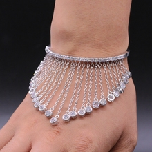 JINYAO Luxury Designer Fashion Jewelry White Gold Color AAA Cubic Zircon Tassel Lace Bangle Bracelet For Women Pulseira