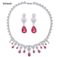 Fashion Statement Necklace Earring Jewelry Sets  Top AAA Pink Blue Cubic Zirconia Wedding Jewellery Set