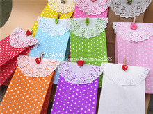 favour Stand up Colorful Polka Dots Paper Favor Bags with Paper Doilies Clamps Gift Packing Bags Treat Bags bakery food bags