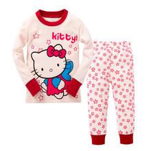 1PC 100% Cotton Girl Clothes Kitty Cat Costume All for Kids Clothes And Accessories Girl Sport Suit Pijamas KT Cat Home Wear Set