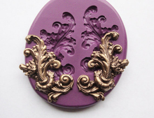 Baroque retro relief mould Leaf Flourish Mould Art Nouveau Victorian Cake Decorating Mold Silicone Molds Polymer Clay Resin Mold(China)