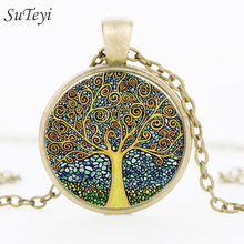 SUTEYI 2017 Fashion Retro Tree of Life Necklace   Glass Cabochon Pendant Ancient Bronze Chain Necklaces Jewelry For Women Girl