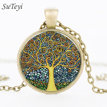 SUTEYI 2017 Fashion Retro Tree of Life Necklace Glass Cabochon Pendant Ancient Bronze Chain Necklaces Jewelry For Women Girl(China)