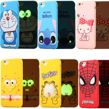Garfield Spiderman Stitch Noctilucent Case For Iphone 6 6s Plus 5 5S SE Soft 3D Cover Cute Cartoon Phone Cases For Iphone 6s