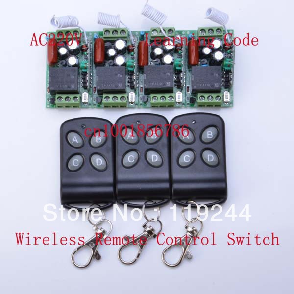 315Mhz/433Mhz 4 Receivers(Mini size)+3Transmitter RF 220V 1CH Wireless Remote Control Power Switch System For LED Light Lamp<br><br>Aliexpress