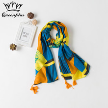 2017 Shawl Beach towel Oversized dual use Woman Brand Cotton Thin section Yellow Totem Silk Scarf Seaside tourism hygroscopicity