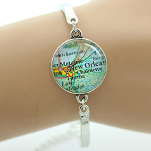 TAFREE Brand Trendy Hometown Map Jewelry New Orleans Map Bracelet Vintage USA Brisbane Tipperary Dallas Denver Detroit maps T746