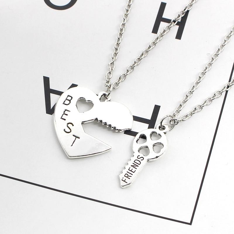 Fashion-Heart-Best-Friends-Necklace-Women-2-Pcs-Set-Hollow-Hearts-Love-Key-Splicing-BFF-Necklaces