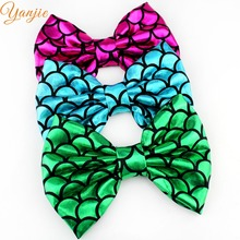 "9pcs/lot Chic European Kids Girl 5"" Printed Bow Mermaid without Clip Trendy DIY Hair Accessories For Kids Hair clip Headwear"