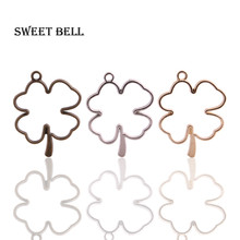 Sweet Bell (12pcs/lot) 34*44mm Three color Alloy Hollow Clover Charm Pendant Jewelry Making Pendant DIY Handmade Craft D6084-1(China)
